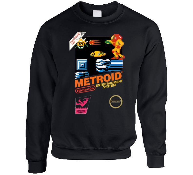 Metroid Nes Box Art Retro Crewneck Sweatshirt T Shirt