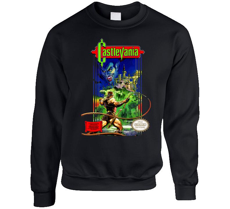 Castlevania Nes Box Art Retro Video Game Crewneck Sweatshirt T Shirt