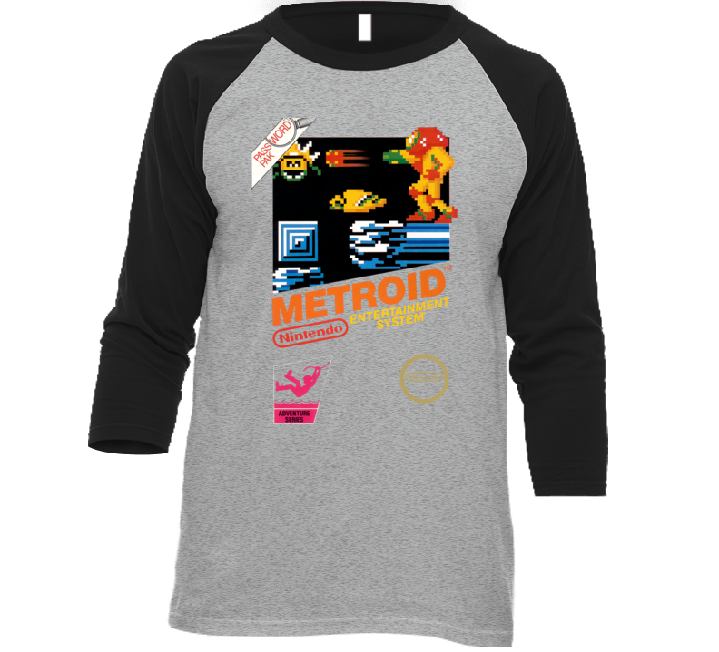 Metroid Nes Retro Nes Box Art Baseball Raglan T Shirt