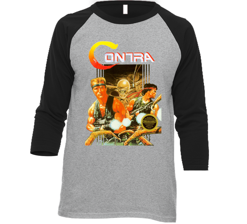 Contra Box Art Nes Retro Baseball Raglan T Shirt
