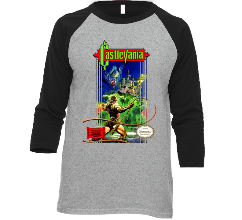 Castlevania Retro Nes Box Art Baseball Raglan T Shirt