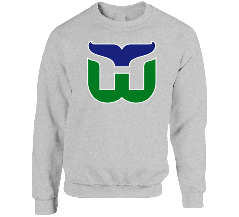 Hartford Whalers Retro Hockey Grey Crewneck Sweatshirt T Shirt
