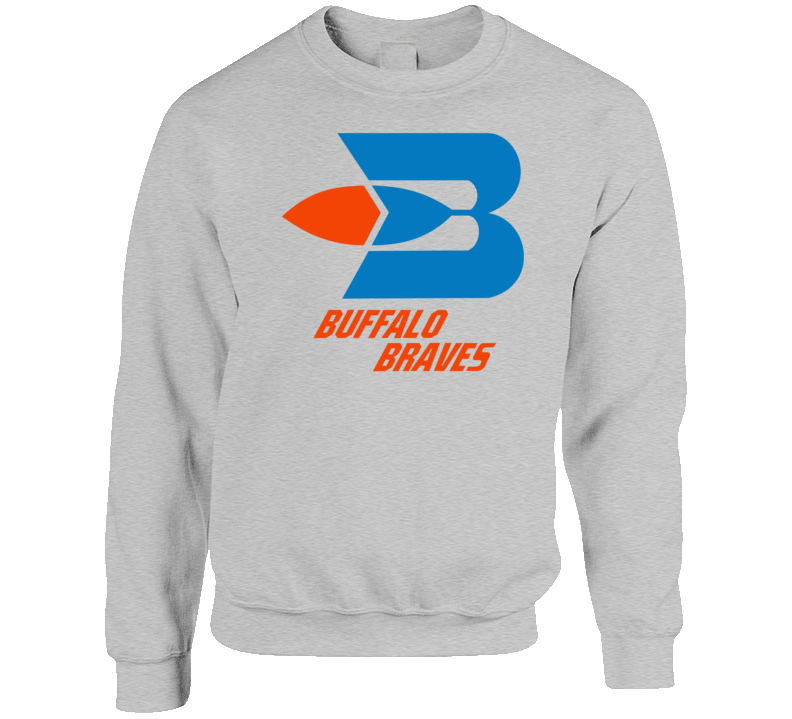 Buffalo Braves Retro 70's Basketball Grey Crewneck Sweatshirt T Shirt