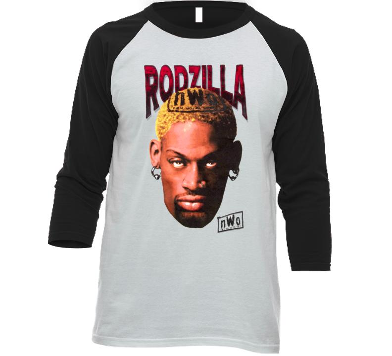 Dennis Rodman Rodzilla Wcw Retro Wrestling Baseball Raglan T Shirt