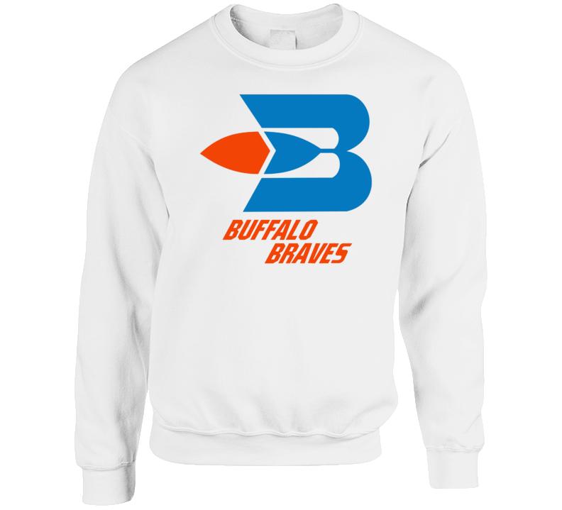 Buffalo Braves Retro 70's Basketball White Crewneck Sweatshirt T Shirt