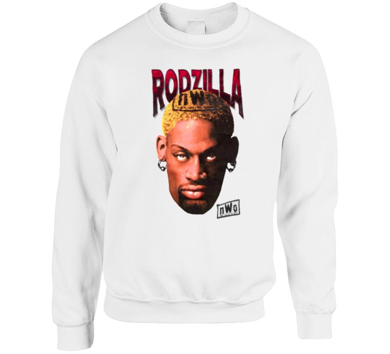 Dennis Rodman Rodzilla Wcw Retro Wrestling White Crewneck Sweatshirt T Shirt