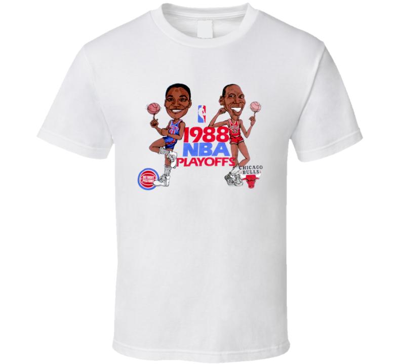 Michael Jordan Isiah Thomas Nba Playoffs Basketball Caricature T Shirt