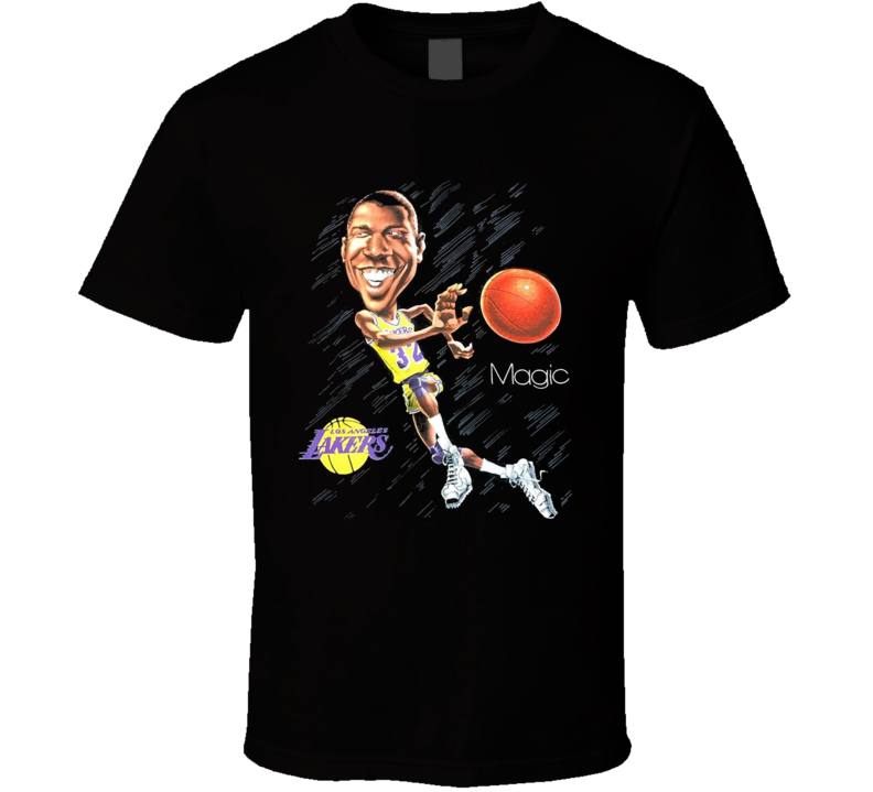 Magic Johnson Los Angeles Basketball Legend Caricature T Shirt