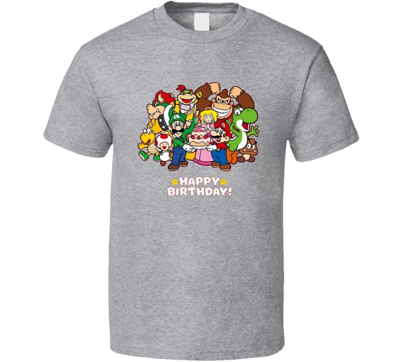 Nes Happy Birthday Super Mario Fun T Shirt