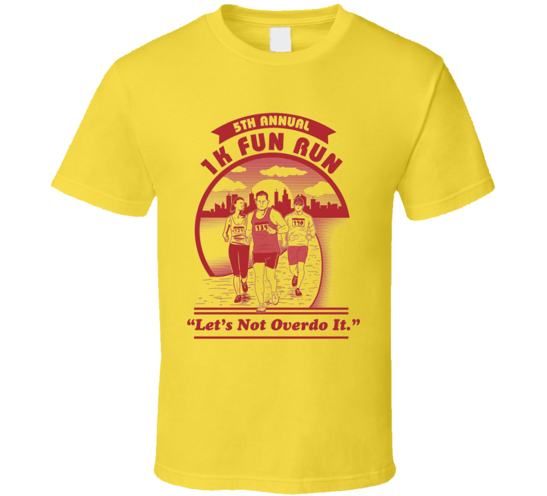 1k Fun Run Let's Not Overdo It Funny Men's Running T Shirt