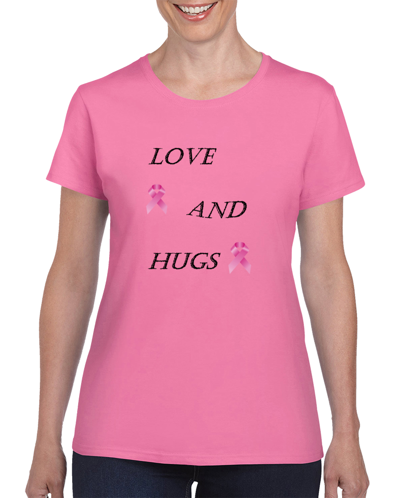 Love And Hugs Ladies Pink Fashionable T- shirt