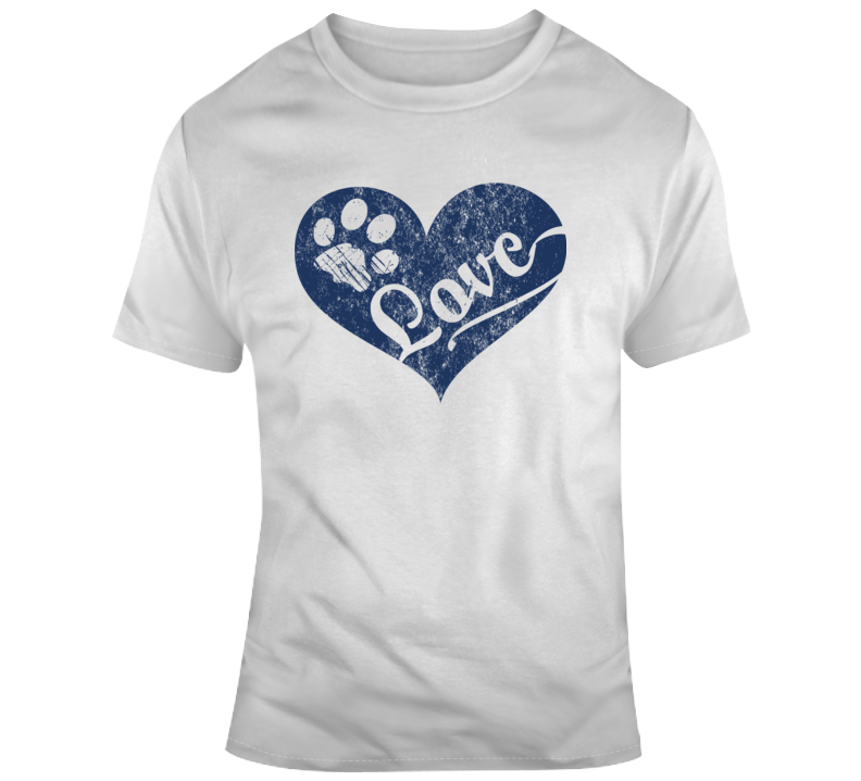 Love Paw Print In Heart T Shirt