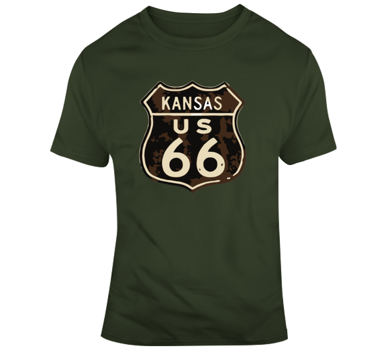 Rusted Kansas Route 66 Road Sign T Shirt