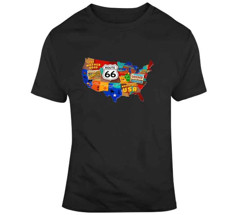 Route 66 Trail On Map T Shirt