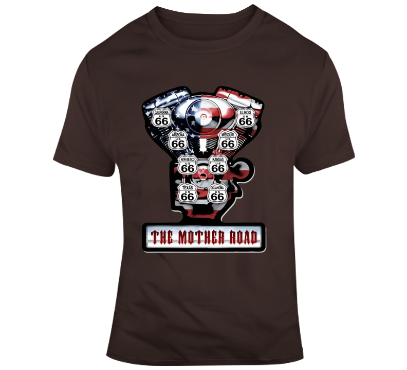 Route 66 V Twin Engine, The Mother Road T Shirt