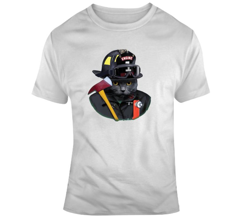 Fire Fighter Cat T Shirt