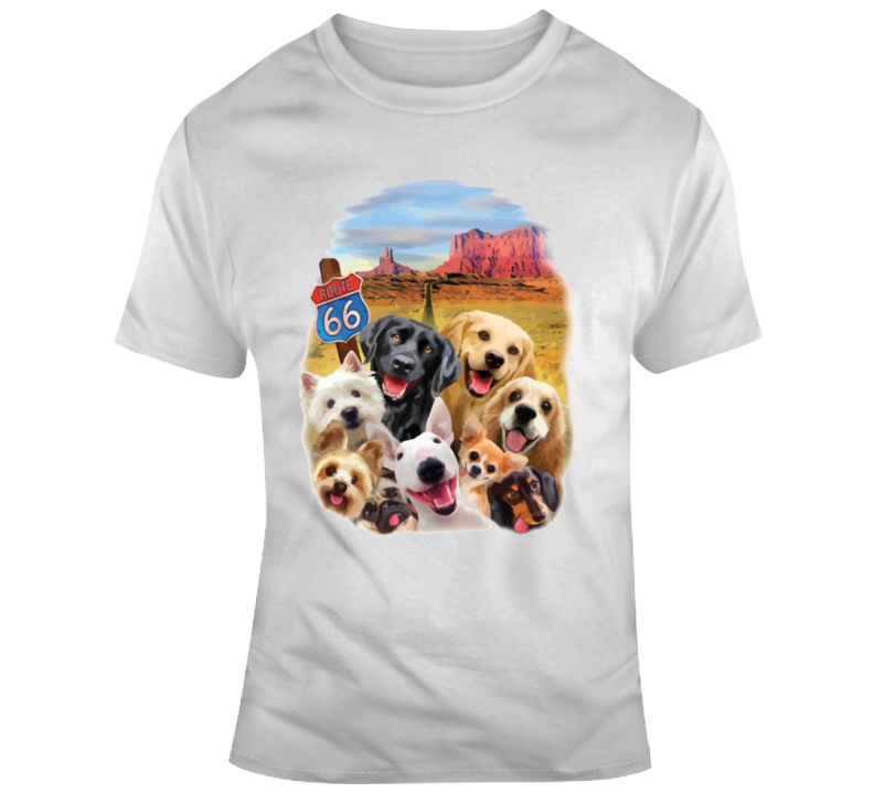 Route 66 Dog Selfie T Shirt