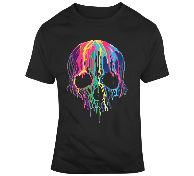 Melting Rainbow Skull T Shirt