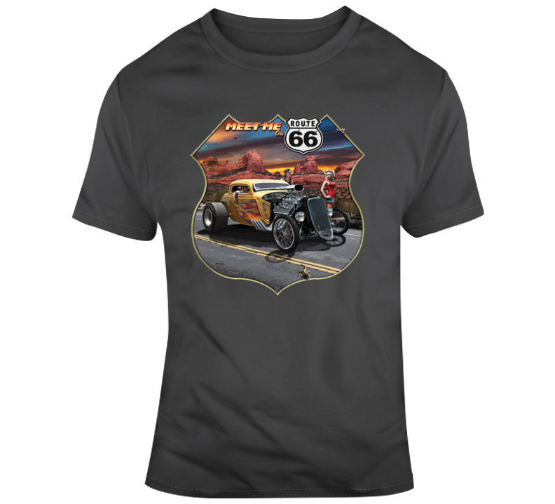 Meet Me On Route 66 Hot Rod T Shirt