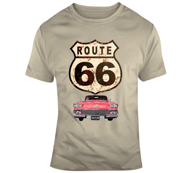 Route 66 Sign And Car T Shirt