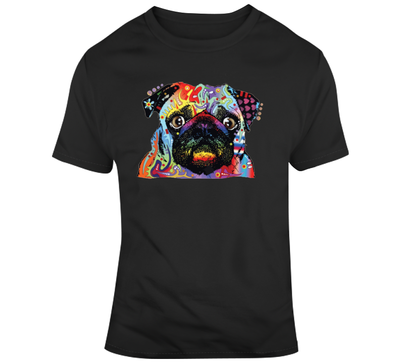 Retro Psychedelic Pug T Shirt