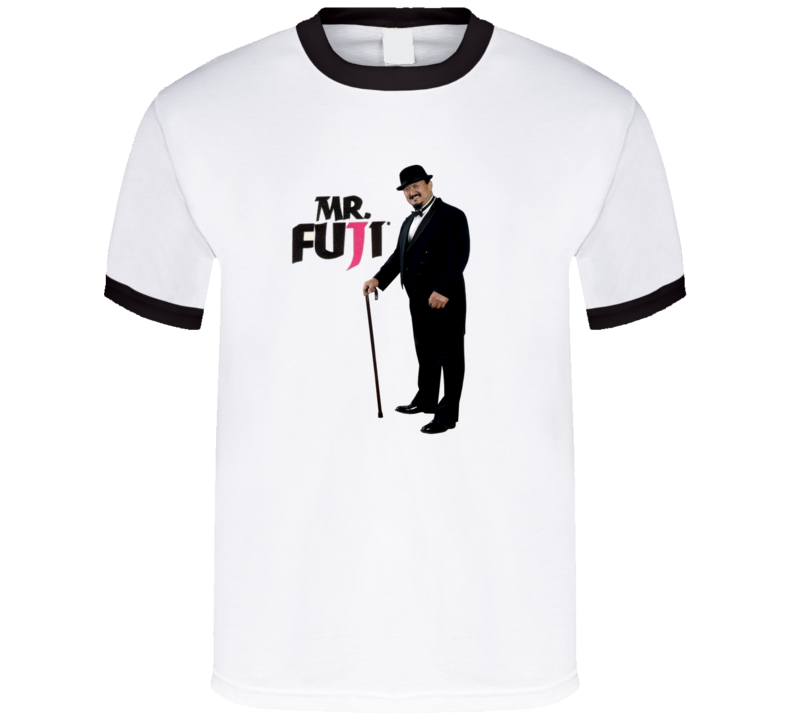 Mr. Fuji WWF Retro Wrestling T Shirt - Black Ringer