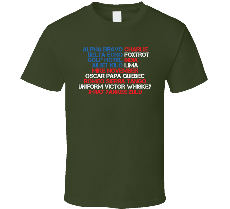 Phonetic Alphabet Military Usa Code Army T Shirt