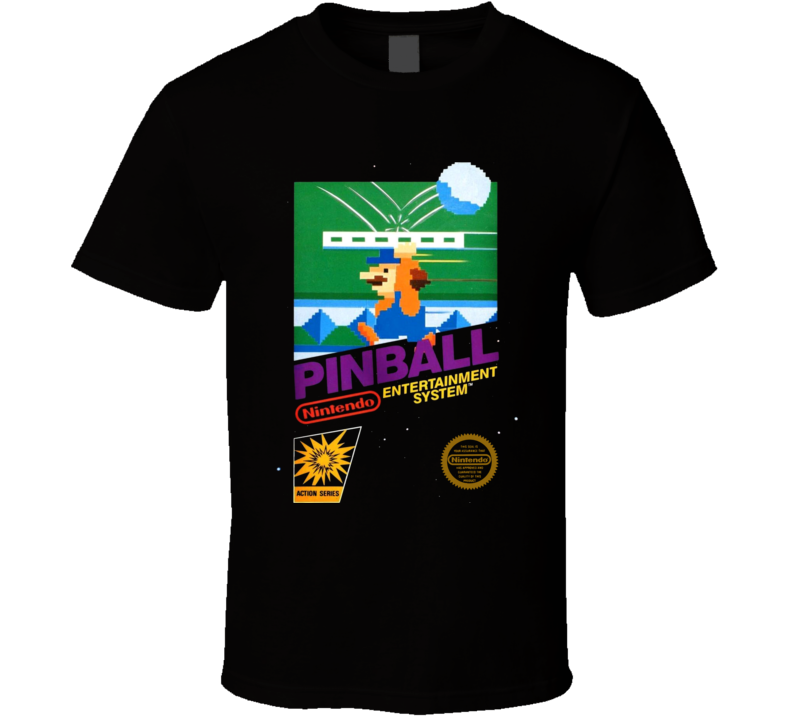 Pinball Nes Classic Black Box Video Game T Shirt
