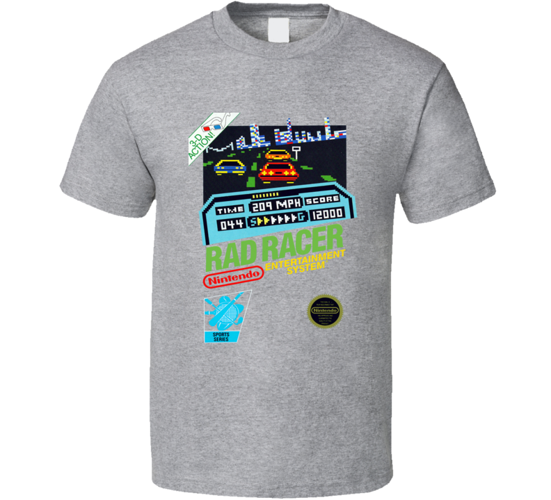 Rad Racer Nes Retro Video Game T Shirt - Grey