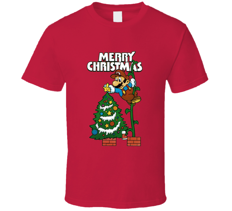 Super Mario Christmas Theme Retro Holiday T Shirt
