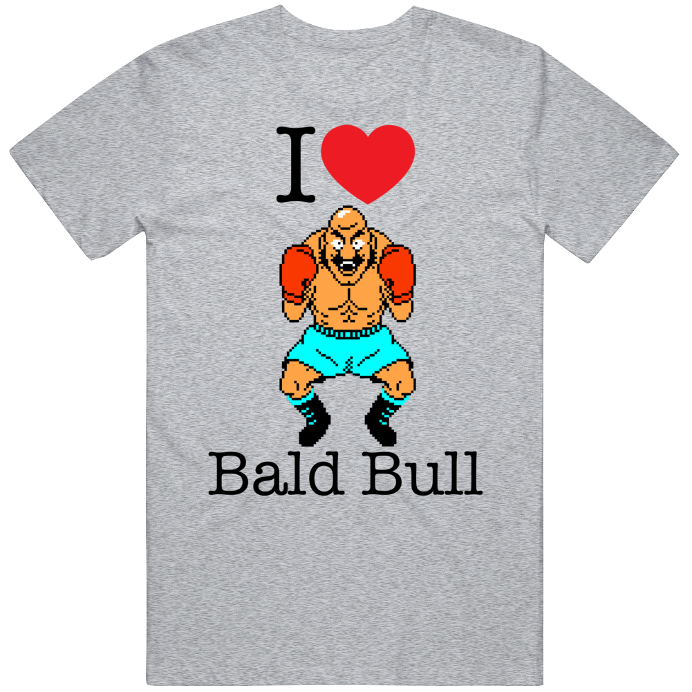 Bald Bull I Love Heart Mike Tyson's Punch Out Video Game Boxing T Shirt