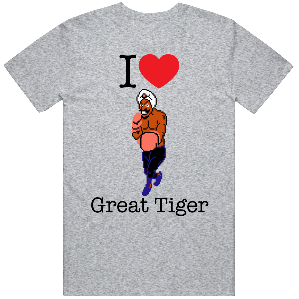Great Tiger I Love Heart Mike Tyson's Punch Out Video Game Boxing T Shirt