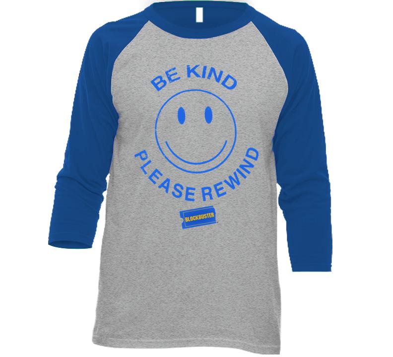 Be Kind Please Rewind Blockbuster Retro Baseball Raglan T Shirt