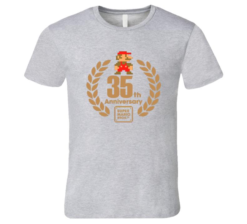 Super Mario Bros 35th Anniversary Retro Video Game T Shirt