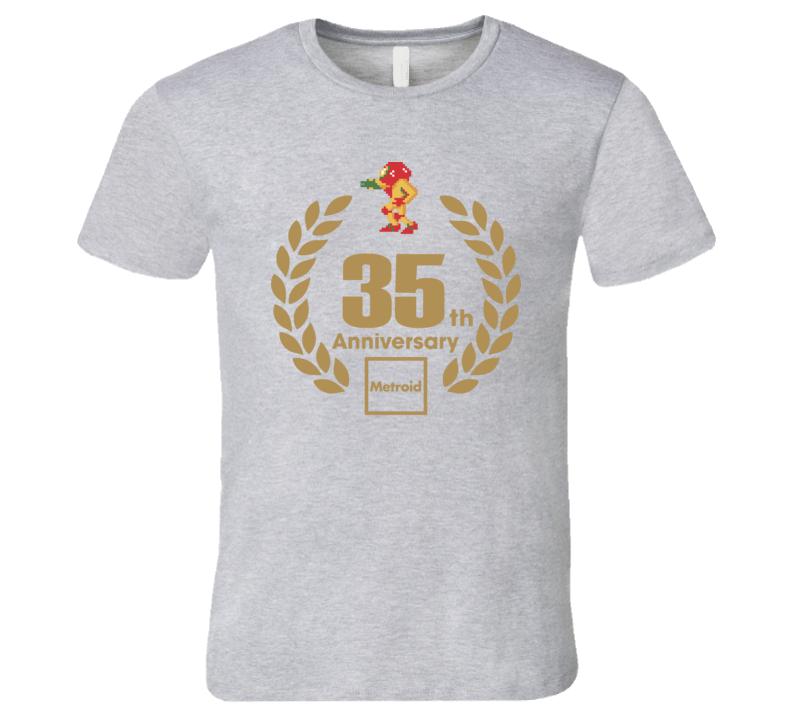 Metroid Samus 35th Anniversary Retro Video Game T Shirt