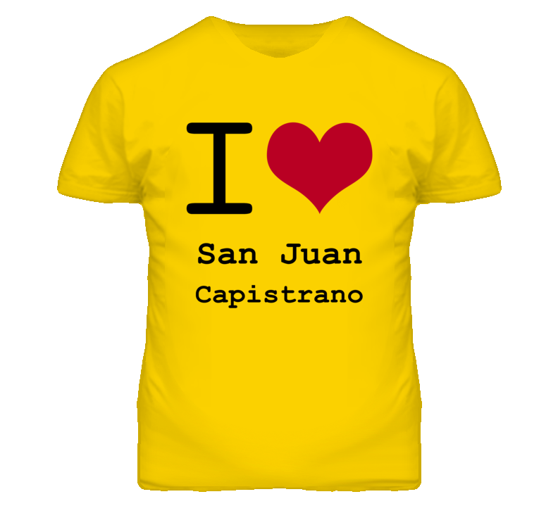 San Juan Capistrano Orange California I Love Heart T Shirt