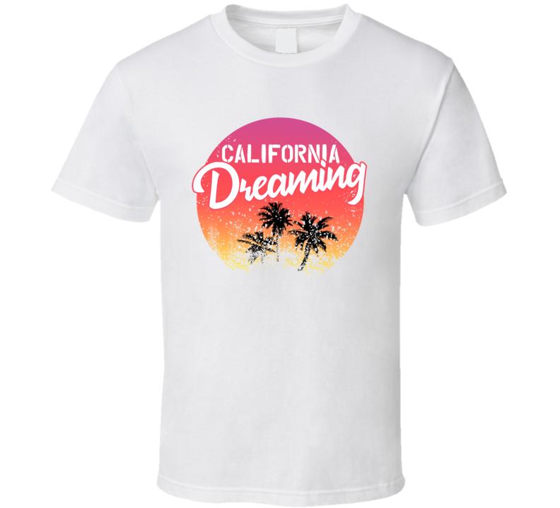 California Dreaming Palm Trees Sunset Beach Travel Vacation T Shirt