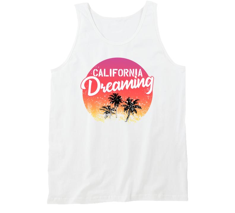 California Dreaming Palm Trees Sunset Beach Travel Vacation Tanktop
