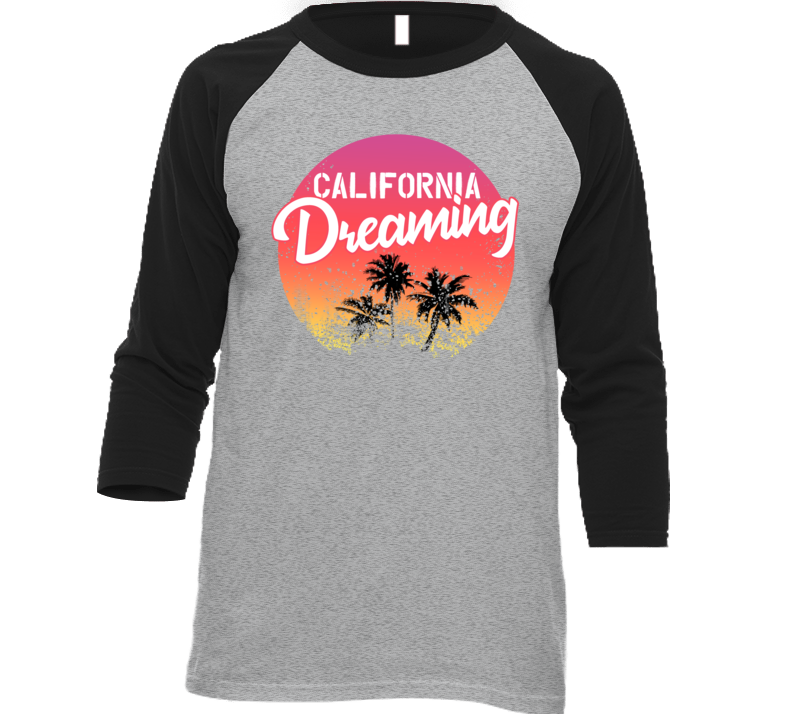 California Dreaming Palm Trees Sunset Beach Travel Vacation Baseball Raglan T Shirt
