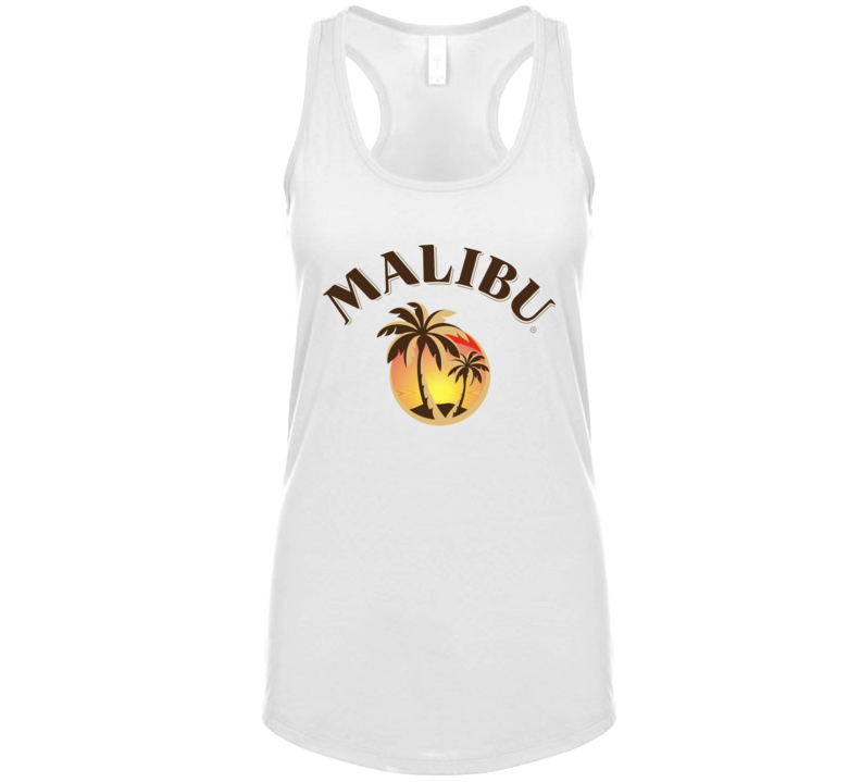 Malibu Rum Cocktail Party Drinking California Beach Alcohol Logo Fan Ladies Tanktop