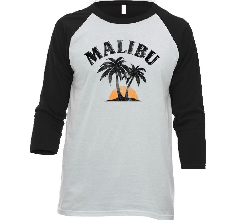 Malibu Rum Cocktail Party Drinking California Beach Alcohol Logo Baseball Raglan T Shirt