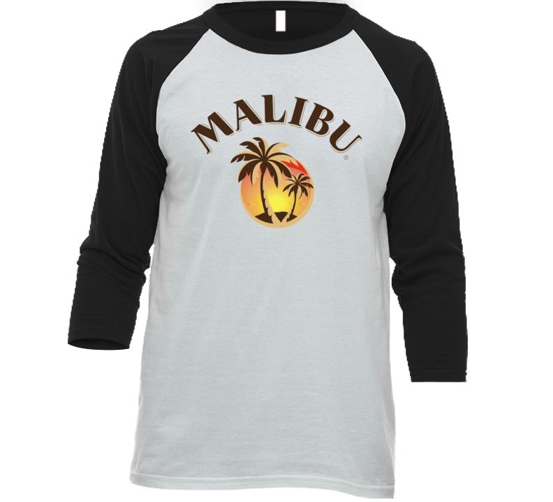Malibu Rum Cocktail Party Drinking California Beach Alcohol Logo Fan Baseball Raglan T Shirt