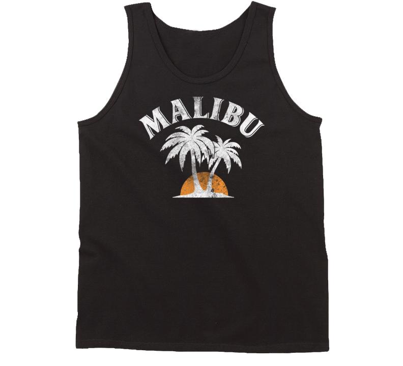 Malibu Rum Cocktail Party Drinking California Beach Alcohol Logo Tanktop