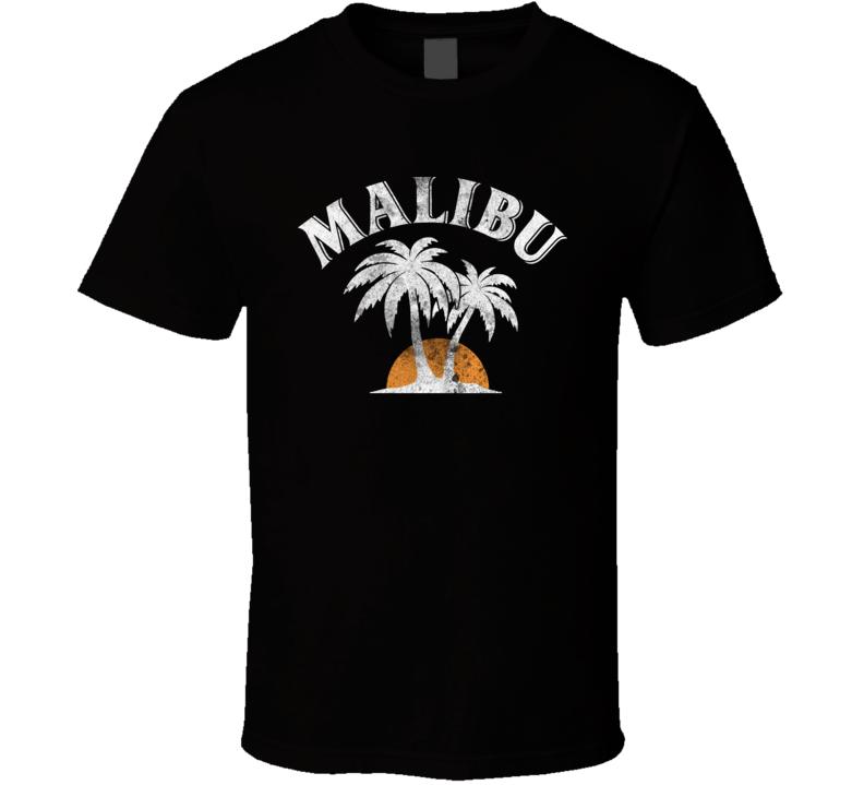 Malibu Rum Cocktail Party Drinking California Beach Alcohol Logo T Shirt
