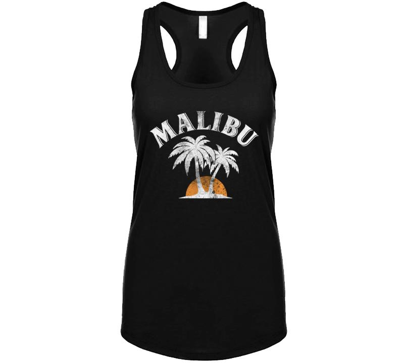 Malibu Rum Cocktail Party Drinking California Beach Alcohol Logo Ladies Tanktop