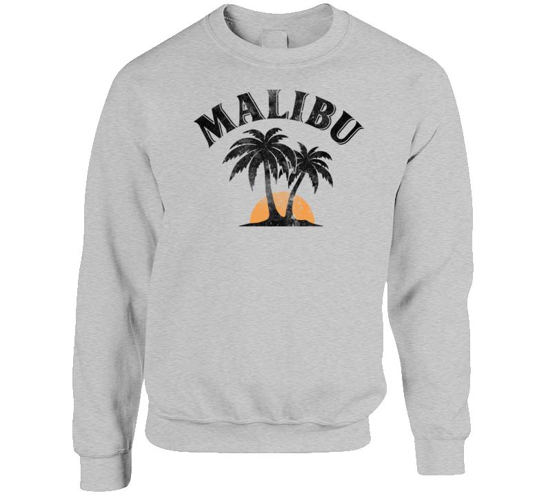 Malibu Rum Cocktail Party Drinking California Beach Alcohol Logo Crewneck Sweatshirt T Shirt