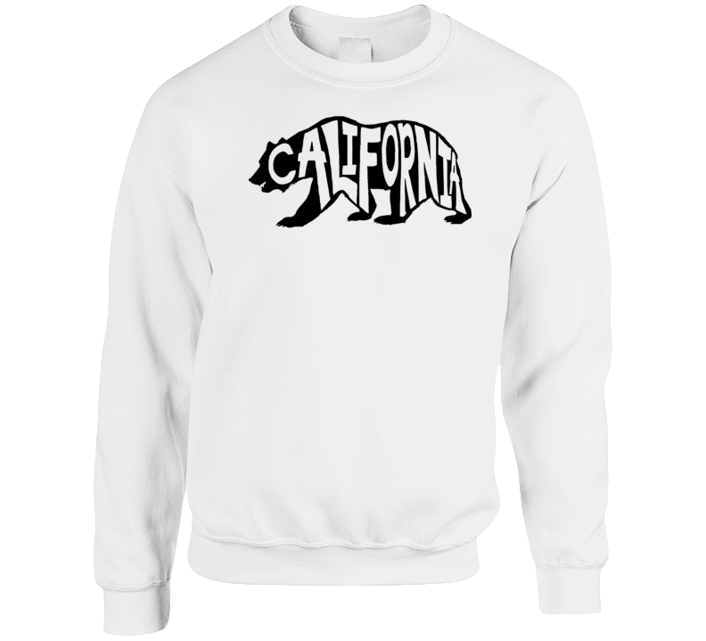 California Bear Typography Inspired Crewneck T Shirt