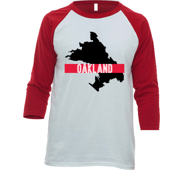 Oakland City Map Outline Border Cool Roadtrip Travel Fan Baseball Raglan T Shirt
