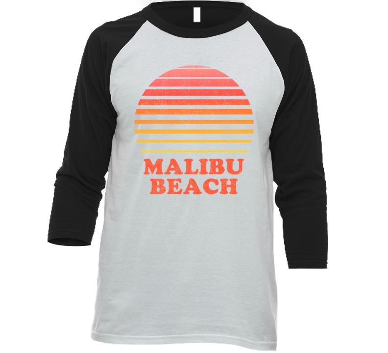 Malibu Beach California City Beach Vacation Sunset Summer Love Roadtrip Baseball Raglan