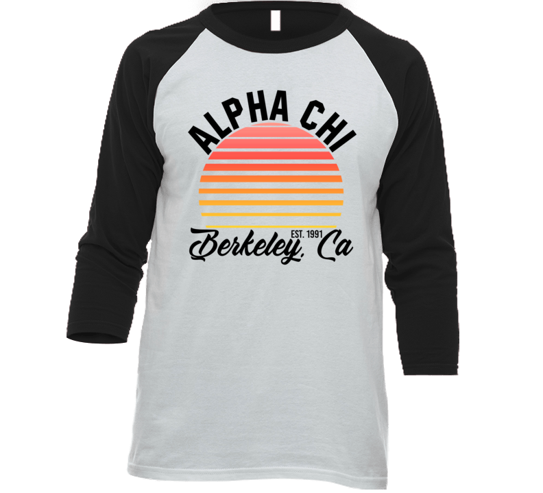Alpha Chi Berkely California University College Sorority House Baseball Raglan T Shirt